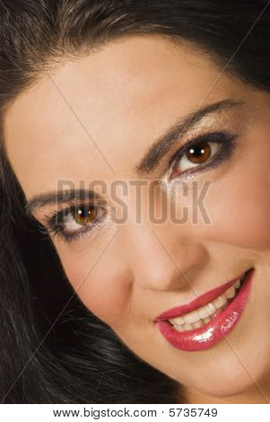 Beautiful Portrait Of  Young Woman Face With Make Up