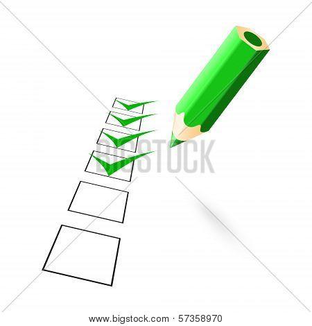Green Pencil With Drawn Ticks