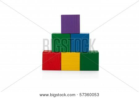 Wooden Blocks, Pyramid Of Colorful Cubes, Childrens Toy Isolated On White Background