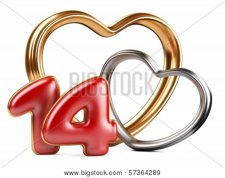 Red Inscription 14 And Two Golden Hearts Shape