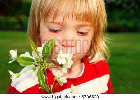 Child With White Flowers