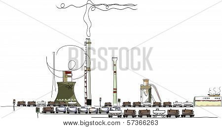 Industrial illustration, energy, power, money and enviromental concept