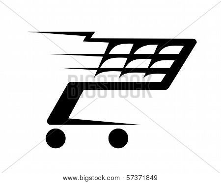Abstract illustration of a shopping cart moving