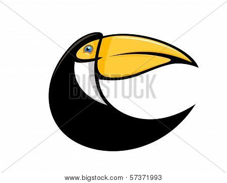 Stylized curved toucan bird