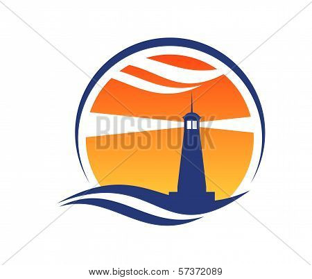 Lighthouse icon at sunset