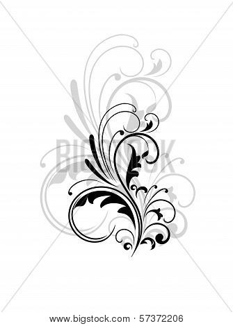 Vintage swirling foliate design element