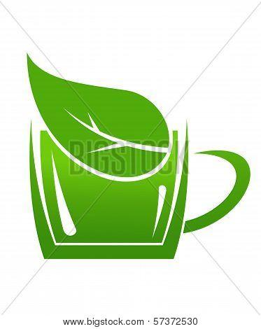Cup of green bio beverage