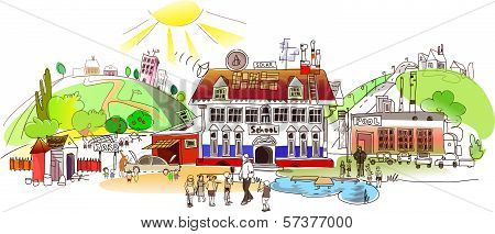 School life illustration, city collection