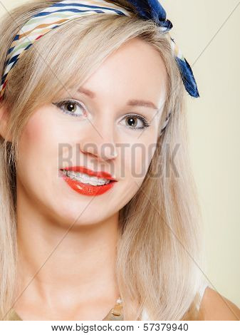 Portrait Smiling Girl With Braces
