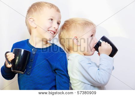 Happy Childhood. Two Brothers Little Boys Drinking Tea