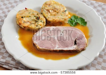 Roasted Pork with bread dumplings and sauerkraut