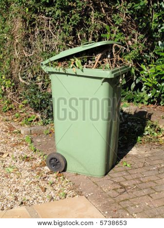 "Green garden waste ""wheelie"" bin."
