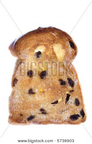Toasted Raisin Bread Slice Isolated