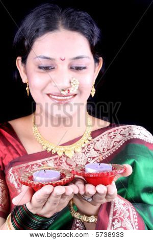 Woman With Diwali Candles