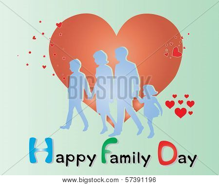 Happy Family Day card with Big Heart