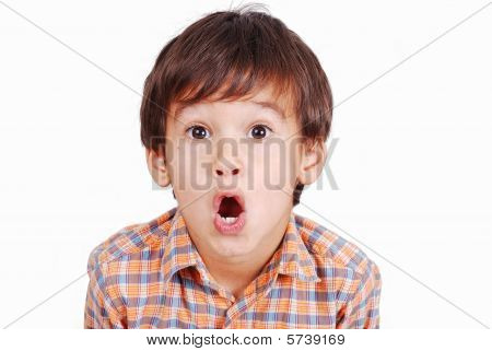 Cute Funny Boy With Surprised Face Isolated