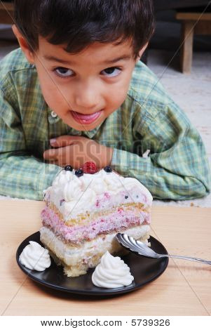 Very Cute Kid About To Eat Colorful Cake, Isolated