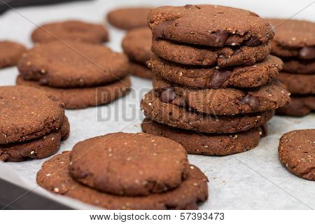 Tray of cacao chia seed cookies close-up