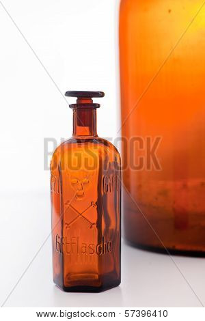 Old Brown Glass Poison Bottle