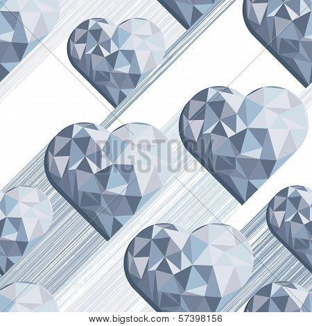 hearts with shadow blue diamond shaped elements on white