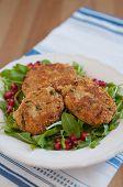 stock photo of veggie burger  - Delicious vegan veggie burger patty with quinoa - JPG