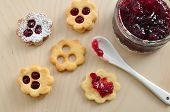 foto of linzer  - Traditional Linzer Cookies with sugar and jam - JPG