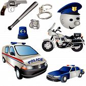 stock photo of truncheon  - Vector illustration Set of nine colored police icons - JPG