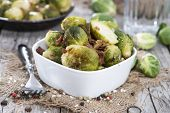 foto of brussels sprouts  - Portion of Brussel Sprouts with Ham and onions - JPG