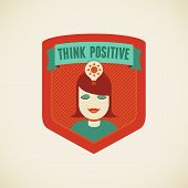 picture of positive thought  - Vector badge in flat style  - JPG