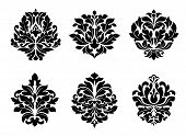 foto of adornment  - Six different black and white floral and foliate arabesque designs suitable for textiles like damask or as design elements - JPG