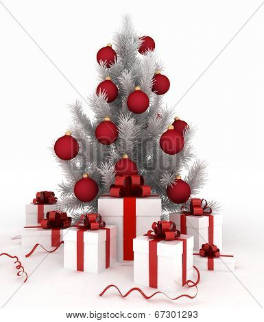 3d illustration of christmas tree and gift boxes on white background