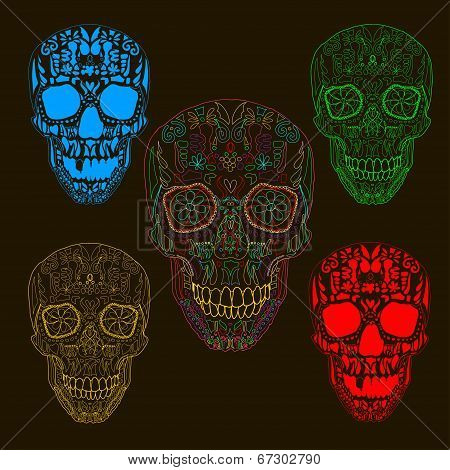 Pattern with sugar skulls. Vector version.