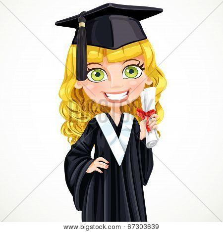 Cute Girl In Cap Holding A Scroll Diploma
