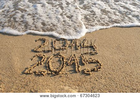 New year 2015 is coming - waves delete old year 2014
