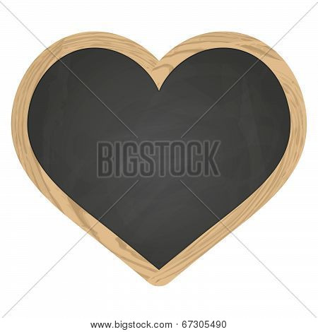 Heart Slate Blackboard Gray With Wooden Frame