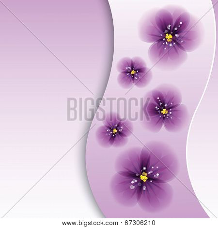 Pansy flowers on the greeting card.