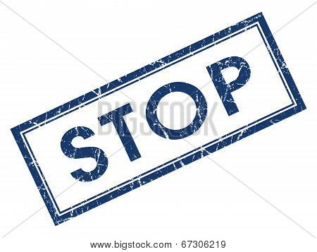 Stop Blue Square Grungy Stamp Isolated On White Background
