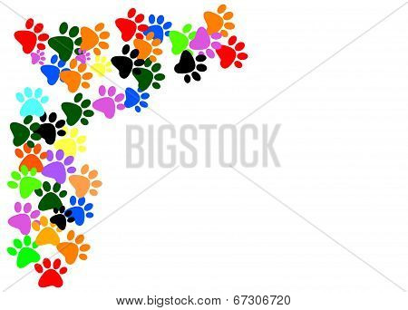Colored Pawprints On White Background
