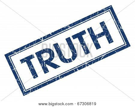 Truth Blue Square Grungy Stamp Isolated On White Background