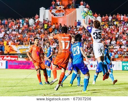 Sisaket Thailand-june 21: Chanin Sae-eae Of Singhtarua Fc. (white) In Action During Thai Premier Lea