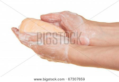 Soap in the female hands