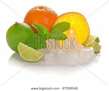 Orange and juicy lime, mint