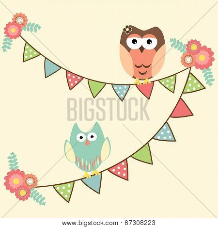 Cute Owls Hanging In Flags