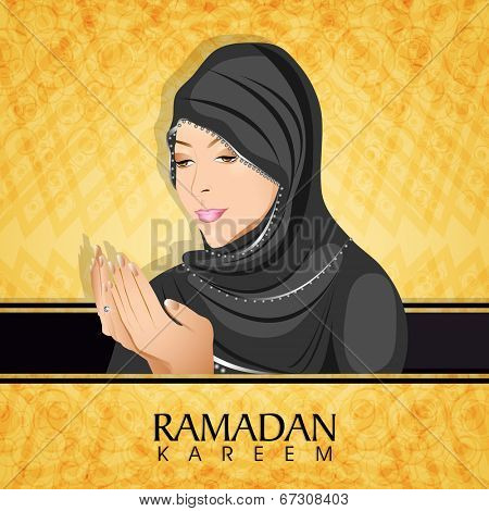 Religious Muslim girl in hijab, praying on abstract yellow background for holy month of Muslim community Ramadan Kareem.