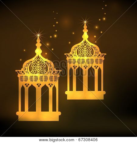 Golden intricate arabic lanterns on brown background for holy month of Muslim community Ramadan Mubarak.