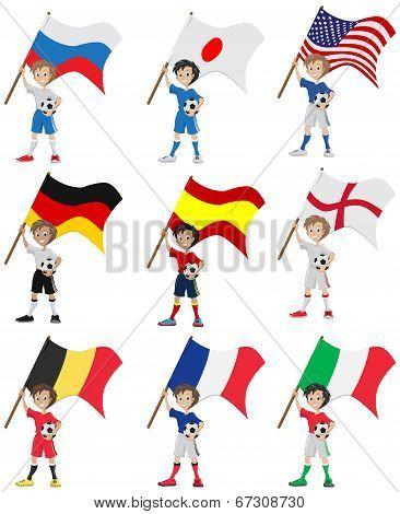 Happy soccer fan holds flag