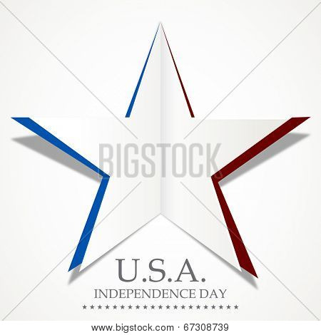 Silver star made by fold paper on grey background with stylish text U.S.A. Independence Day.