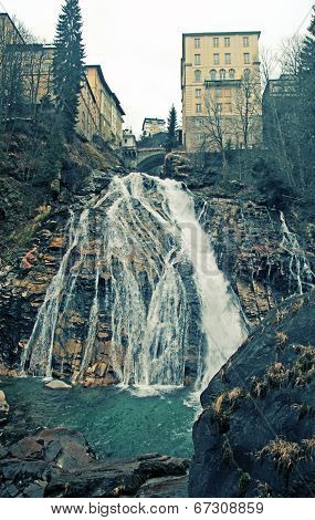 Waterfall At Bad Gastein In Alps Mountains