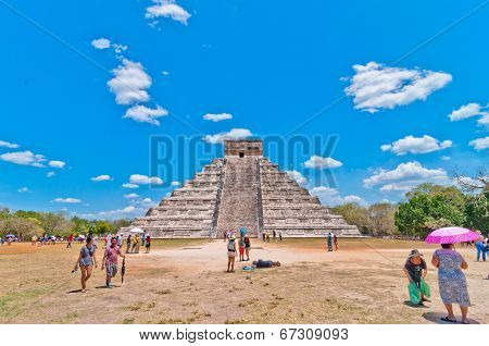 tourists visit Chichen Itza - Yucatan, Mexico