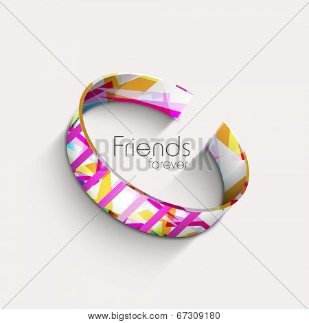 Stylish colourful friendship band on beige background for Happy Friendship Day celebrations.